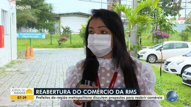 Prefeitos de municípios da RMS se reúnem para discutir a reabertura do comércio - Moema Gramacho, prefeita de Lauro de Freitas, dá mais detalhes sobre o que ficou definido entre os gestores.
