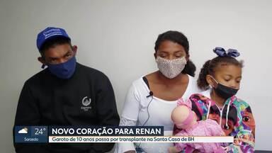 Garoto de 10 anos recebe coração em transplante realizado na Santa Casa de BH - Procedimento é o segundo deste tipo realizado no hospital.