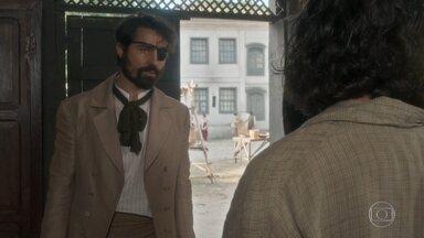 Ferdinando deixa a taberna acompanhado de Greta - Hugo pensa em Elvira
