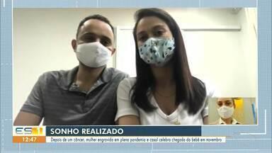 Depois de um câncer, mulher engravida em plena pandemia e casal celebra - Veja a reportagem!