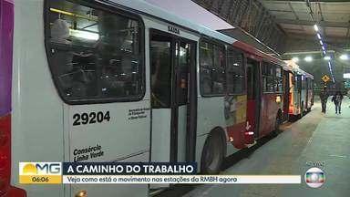 Semana começou com muito movimento na estação de Ribeirão das Neves - Ônibus lotados e filas nas estações preocupam passageiros.