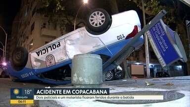 Acidente em Copacabana entre viatura da PM e um carro de passeio - Acidente entre viatura da polícia e carro de passeio em Copacabana . Na esquina da rua Rainha Elizabeth com Avenida Nossa Senhora de Copacabana o carro da Polícia chegou a capotar