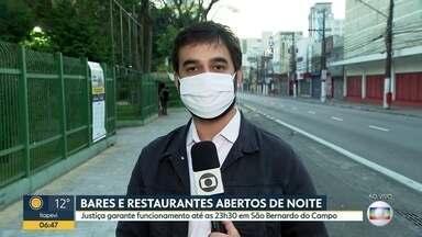 Bares e restaurantes de São Bernardo do Campo poderão funcionar à noite - Justiça concedeu liminar que permite mudança de horários dos estabelecimentos