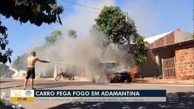 Carro pega fogo e mobiliza Corpo de Bombeiros - Caso foi em Adamantina, nesta quinta-feira (23).