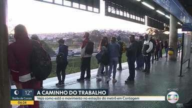 Manhã movimentada no metrô de Contagem - Bom Dia Minas acompanha embarque de passageiros na RMBH.