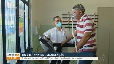 Pacientes recuperados da Covid-19 recebem fisioterapia pulmonar gratuita em Manaus - Pacientes curados da doença recebem atendimento especializado.