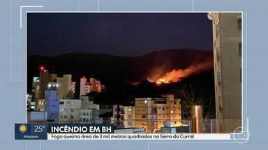 Fogo queima área de 3 mil metros quadrados na Serra do Curral - Chamas e fumaça foram vistas de longe.
