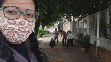 Família troca serviços de jardinagem por dinheiro e alimentos em Porto Alegre - Eles tiveram queda na renda devido à pandemia.