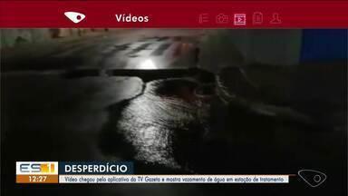 Vazamento de água em estação de tratamento preocupa morador em Linhares, no ES - Veja a reportagem.