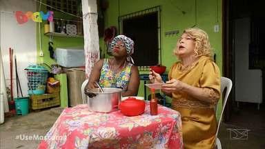 """Veja as trapalhadas do Pão com Ovo - No episódio """"Mocotó"""" Dijé convida Clarisse para provar seu delicioso mocotó e muita situações hilárias ocorrem durante o processo de cozimento do prato."""