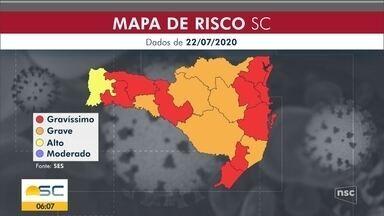 Novas medidas em SC: 173 municípios estão na faixa de risco mais crítica - Novas medidas em SC: 173 municípios estão na faixa de risco mais crítica