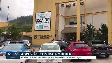 Homem é preso acusado de esfaquear a companheira em Nova Friburgo, no RJ - Mulher foi ferida à delegacia e denunciou o crime. Ele foi preso e encaminhado para a capital.