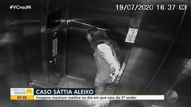 Câmera de segurança mostra médica em elevador pouco antes de cair do 5º andar de prédio - A polícia investiga se ela foi arremessada do imóvel onde morava com o namorado, que também é médico, no bairro de Jardim Armação.