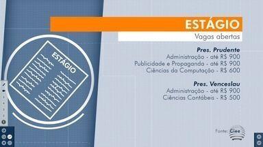 Estudantes têm oportunidades de estágio no Oeste Paulista - Confira as vagas disponíveis na região de Presidente Prudente.