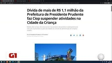 Dívida de R$ 1,1 milhão da Prefeitura faz Ciop suspender atividades na Cidade da Criança - Assunto é destaque em reportagem no Portal G1.