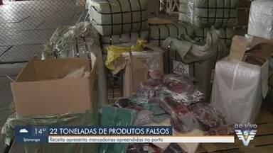 Receita Federal apreende 22 toneladas de produtos falsificados no Porto de Santos - Órgão apresentou quantidade de mercadorias falsificadas que foram apreendidas.