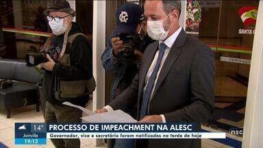 Governador de SC e vice são notificados do processo de impeachment - Governador de SC e vice são notificados do processo de impeachment