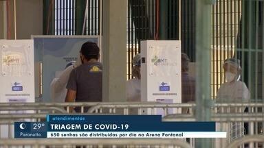 Aumentam de 600 para 650 as senhas distribuídas diariamente no Centro de Triagem na Arena - Aumentam de 600 para 650 as senhas distribuídas diariamente no Centro de Triagem na Arena Pantanal.