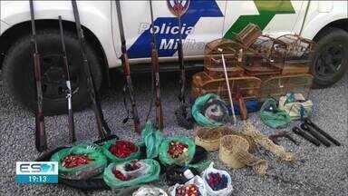 Polícia Ambiental apreende animais abatidos, pássaros, armas e munição no Norte do ES - Confira na reportagem.