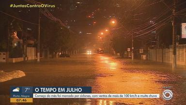 Julho é marcado por ciclones com ventos acima de 100km/h e chuvas no RS - Cheias deixaram milhares de pessoas desabrigadas no Estado.