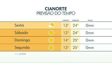 Tardes quentes e manhãs frias: essa é a previsão para os próximos dias no noroeste - Em Cianorte, temperatura deve chegar aos 24 graus nesta sexta (31).