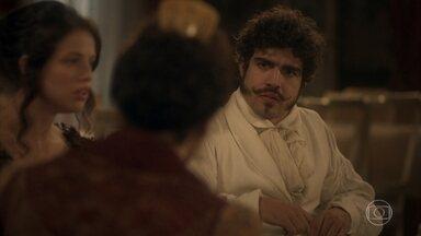 Dom Pedro se surpreende com a gravidez de Benedita - O príncipe tenta se explicar para Domitila e fica sem saber como lidar com a situação