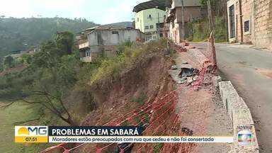 Moradores reclamam da situação de uma rua em Sabará - Parte da via cedeu com as chuvas de janeiro e até hoje não foi consertada.