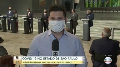 Julho foi o mês com mais casos e mortes por Covid-19 em São Paulo - O número de casos subiu 52% em julho, na comparação com o mês anterior.