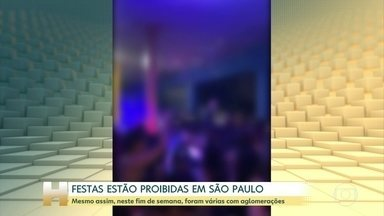 Festas estão proibidas em São Paulo, mesmo assim foram várias nesse fim de semana - Governo do Estado ainda não tem data para liberar eventos com aglomerações.