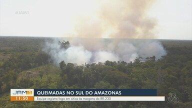 No Sul do AM, equipe de reportagem registra imagens que mostram queimadas - Fogo foi registrado em sítios às margens da BR-230.