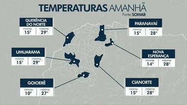 Tempo seco predomina no noroeste pelos próximos dias - Não há previsão de chuva na região. Temperatura segue em elevação.