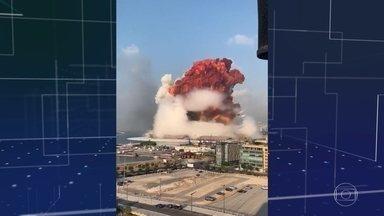 Explosão em Beirute deixa mais de 70 mortos e cerca de 4 mil feridos - Segundo o primeiro-ministro libanês, Hassan Diab, a explosão pode ter sido causada por nitrato de amônio. O material usado como inseticida e altamente explosivo estava armazenado de maneira inadequada por mais de seis anos no porto.