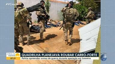 Policiais militares apreendem armas de uso restrito das Forças Armadas em Juazeiro - Operação desarticulou uma quadrilha especializada em roubar bancos e carros-forte.