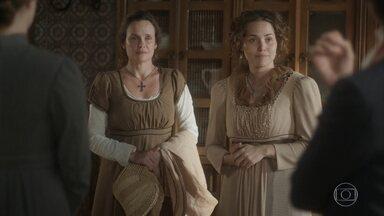 Leopoldina apresenta Nívea como nova empregada da Quinta - Patrícia pergunta por que Nívea foi demitida por Thomas e ela afirma que o antigo patrão tentou lhe matar