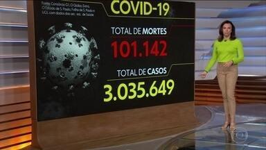 Coronavírus: Brasil chega a 101.142 mortes e 3.035.649 casos da Covid-19 - No domingo (9), às 20h, o balanço indicou: 101.136 mortes, 593 em 24 horas. Com isso, a média móvel de novas mortes no Brasil nos últimos 7 dias foi de 1.001 óbitos.