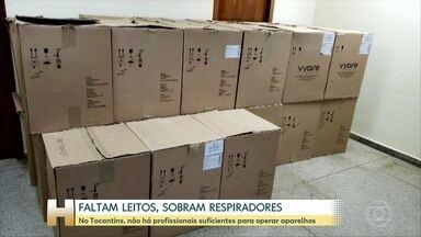 Em Tocantins, faltam leitos e sobram respiradores - Taxa de ocupação dos leitos no Estado é de 87%. Enquanto pacientes morrem á espera de leitos, imagens mostram vários respiradores novinhos encaixotados.