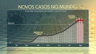 Mundo já tem mais de 20 milhões de infectados pelo novo coronavírus - Número de casos mais do dobrou nas seis últimas semanas; Brasil e EUA puxaram alta recente.