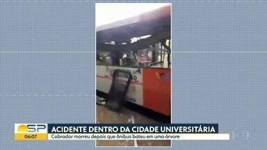 Acidente dentro da Cidade Universitária - Cobrador morreu depois que ônibus bateu em uma árvore.