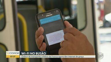 Ônibus de Franca, SP, ganham internet gratuita disponível para passageiros - Gerente do serviço de transporte público, Luciano Marangoni explica como o sistema vai funcionar.