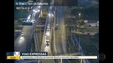 Trânsito nesta quarta-feira (12) - Tráfego de veículos nas principais vias expressas do Rio e região metropolitana