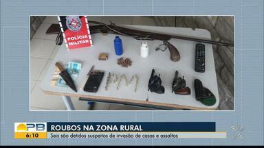Seis pessoas são presas por suspeita de roubos na zona rural de Esperança - Crimes aconteceram no Agreste