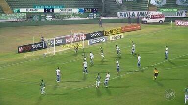 No retorno ao Brinco de Ouro depois de quase 5 meses, Guarani perde do Cruzeiro - Com seis pontos somados nas duas primeiras rodadas, Raposa 'recuperou' pontuação perdida com punição da FIFA; já o Bugre segue sem pontuar.