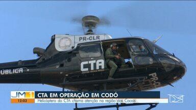 Helicóptero do CTA chama atenção na região dos cocais - Ações policiais de combate à criminalidade na região dos cocais têm o apoio do Centro Tático Aéreo (CTA). O helicóptero tem chamado atenção dos moradores em várias cidades.