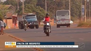 Moradores da região do Potreirito reclamam da alta velocidade dos motoristas - Em Dourados.