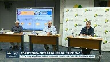 Covid-19: parques, bosques e clubes de Campinas abrem por 6h diárias a partir deste sábado - Setor volta a receber visitantes das 7h às 13h durante a fase 3 - amarela do Plano São Paulo. Atrações de uso coletivo permanecem fechadas.