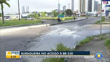 Condutores correm risco por tráfego em via esburacada, em João Pessoa - Via dá acesso à BR-230