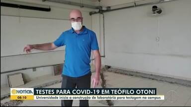 Laboratório da UFVJM é reformado para pdoer realizar testes de Covid-19 - Previsão é que local possa fazer mil exames por semana