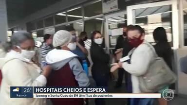 Em meio à pandemia, Centro de Especialidades Médicas em BH tem aglomeração na entrada - Mesmo a unidade atendendo somente consultas agendadas, pacientes ainda fazem fila no início da manhã.