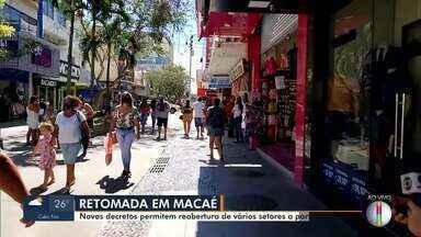 Prefeitura de Macaé autoriza retomada de atividades na Faixa Verde - A Prefeitura de Macaé publicou novo decreto autorizando o funcionamento de shoppings centers, academias, bares e restaurantes.