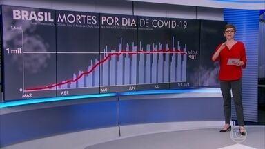 Brasil registra 1.007 mortes por coronavírus nesta sexta-feira (14) - Média móvel de sete dias do Brasil caiu para 981 óbitos diários causados pela Covid-19.
